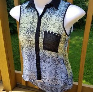 Bongo Sheer Cheetah Print Sleeveles Button Small